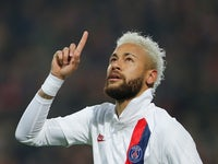 Paris Saint-Germain's Neymar celebrates scoring their second goal from the penalty spot on January 26, 2020