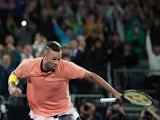 Australia's Nick Kyrgios celebrates winning the match against France's Gilles Simon on January 23, 2020