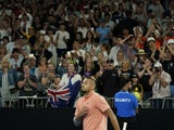 Australia's Nick Kyrgios celebrates after his match against Russia's Karen Khachanov on January 25, 2020