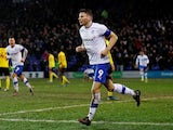 Tranmere Rovers' Paul Mullin celebrates scoring their second goal on January 23, 2020