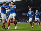 Portsmouth's John Marquis celebrates scoring their second goal on January 25, 2020