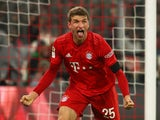 Bayern Munich's Thomas Muller celebrates scoring their second goal on January 25, 2020