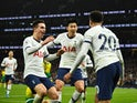 Tottenham Hotspur's Son Heung-min celebrates scoring their second goal with teammates on January 22, 2020