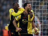 Watford's Troy Deeney celebrates scoring their first goal with Abdoulaye Doucoure on January 21, 2020
