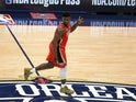 New Orleans Pelicans forward Zion Williamson (1) reacts after a three point basket against the San Antonio Spurs during the fourth quarter at the Smoothie King Center on January 23, 2020