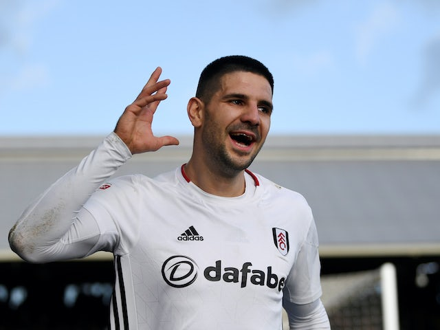 Aleksandar Mitrovic celebrates scoring for Fulham on February 1, 2020