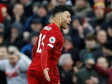 Alex Oxlade-Chamberlain celebrates opening the scoring for Liverpool on February 1, 2020