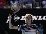 Germany's Alexander Zverev celebrates winning his match against Switzerland's Stan Wawrinka on January 29, 2020