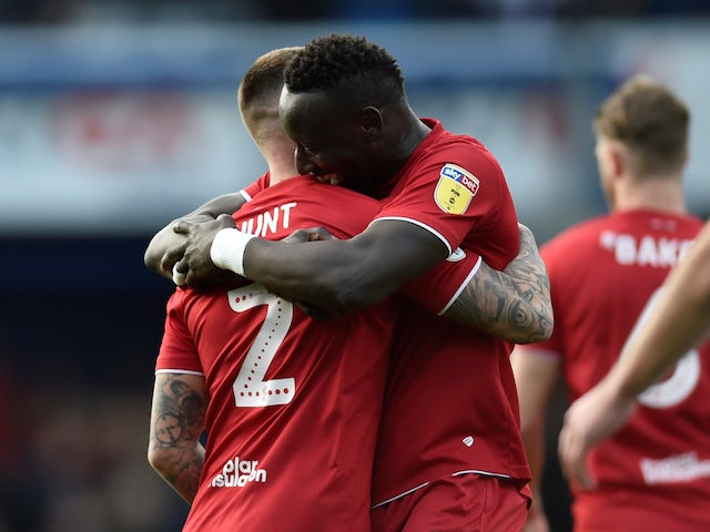 Bristol City's Famara Diedhiou celebrates scoring their first goal on February 1, 2020