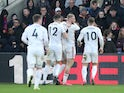 Sheffield United players celebrate their first goal on February 1, 2020