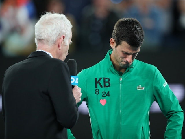 Novak Djokovic pays emotional tribute to Kobe Bryant after beating Milos Raonic
