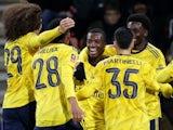 Eddie Nketiah celebrates scoring his side's second with Arsenal teammates on January 27, 2020