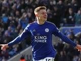 Harvey Barnes celebrates scoring their first goal on January 1, 2020