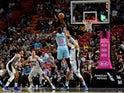 Miami Heat forward Bam Adebayo (13) shoots over Orlando Magic center Nikola Vucevic (9) during the first half at American Airlines Arena on January 28, 2020