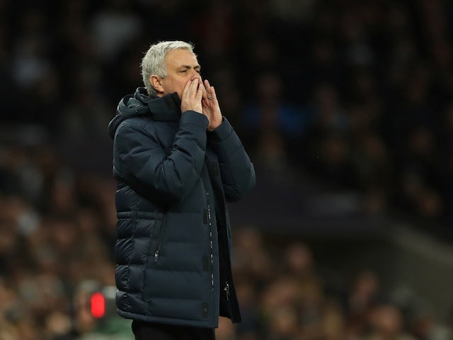 Tottenham Hotspur manager Jose Mourinho reacts on February 2, 2020