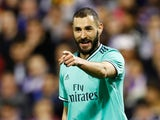 Real Madrid's Karim Benzema celebrates scoring their fourth goal on January 29, 2020
