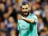 Real Madrid's Karim Benzema celebrates scoring their fourth goal on January 29, 2020