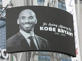 A tribute to Kobe Bryant is displayed outside the Staples Center in Los Angeles on January 26, 2020
