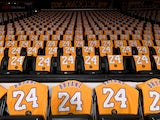 The Los Angeles Lakers honor the late Kobe Bryant by laying out t-shirts on every seat in the arena for the game against the Portland Trail Blazers at Staples Center on February 1, 2020