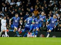Wigan players celebrate their goal against Leeds on February 1, 2020
