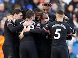 Chelsea's Antonio Rudiger celebrates scoring their first goal with teammates on February 1, 2020
