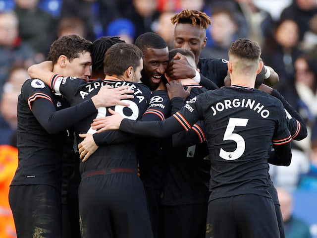 Chelsea's Antonio Rudiger celebrates scoring their first goal with teammates on February 1, 2020