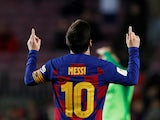 Barcelona's Lionel Messi celebrates scoring their fifth goal on January 30, 2020
