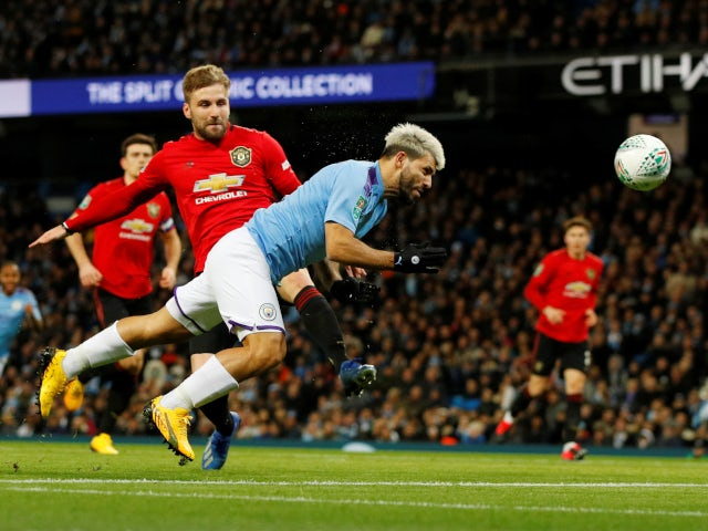Manchester City's Sergio Aguero sees a header saved against Manchester United in the EFL Cup on January 29, 2020.