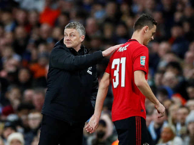 Manchester United's Nemanja Matic is sent off against Manchester City in the EFL Cup on January 29, 2020.