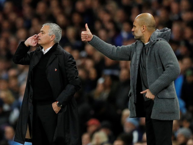 Manchester United manager Jose Mourinho and Manchester City manager Pep Guardiola during the match in November 2018