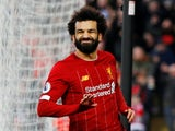 Mohamed Salah celebrates scoring for Liverpool on February 1, 2020