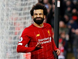 Mohamed Salah celebrates scoring for Liverpool on February 1, 2020