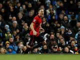 Nemanja Matic celebrates scoring for Manchester United against Manchester City in the EFL Cup on January 29, 2020.