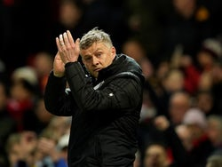 Manchester United manager Ole Gunnar Solskjaer applauds the fans before the match on February 1, 2020