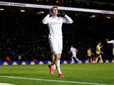 Leeds' Patrick Bamford celebrates scoring their third goal on January 28, 2020