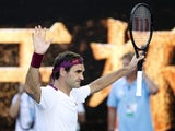 Switzerland's Roger Federer celebrates winning his match against Tennys Sandgren on January 28, 2020