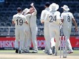 Ben Stokes is congratulated by England teammates on January 27, 2020