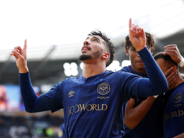 Brentford's Said Benrahma celebrates scoring their fourth goal on February 1, 2020