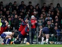 Scotland's Stuart Hogg scores a try but it is disallowed afterwards on February 1, 2020