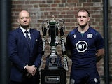Scotland head coach Gregor Townsend and Scotland's Stuart Hogg pose with the Six Nations trophy in January 2020