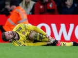 Arsenal's Shkodran Mustafi lies injured on January 27, 2020