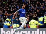 Everton's Theo Walcott celebrates scoring their third goal on February 1, 2020