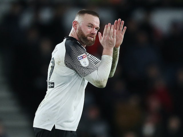 Wayne Rooney celebrates scoring for Derby County on January 31, 2020