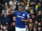 Yerry Mina celebrates scoring for Everton on February 1, 2020