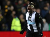 Newcastle United's Allan Saint-Maximin celebrates scoring their third goal on February 4, 2020
