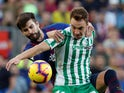 Real Betis forward Loren Moron in action against Barcelona in November 2018