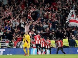 Athletic Bilbao's Inaki Williams celebrates scoring their first goal with teammates on February 6, 2020