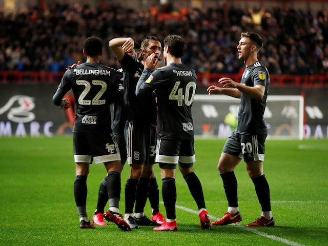 Birmingham City players celebrate after Bristol City's Andreas Weimann scored an own goal and the second goal for Birmingham City on February 7, 2020