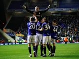 Birmingham's Lee Camp celebrates with team mates after victory in the shootout on February 4, 2020