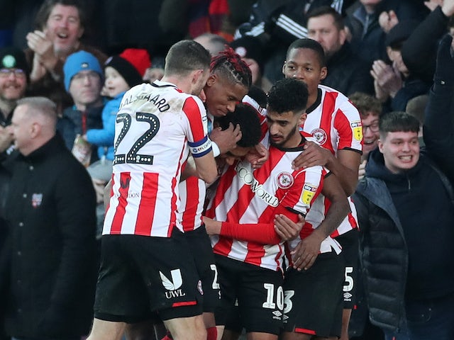Ollie Watkins celebrates scoring for Brentford on February 8, 2020